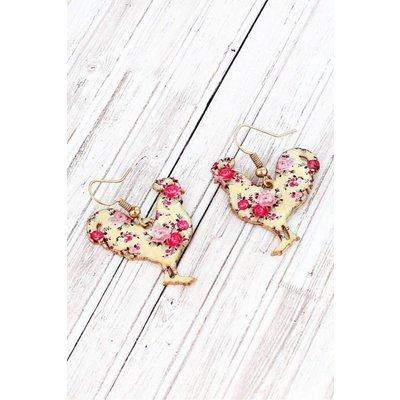Vintage Rose Rooster Earrings