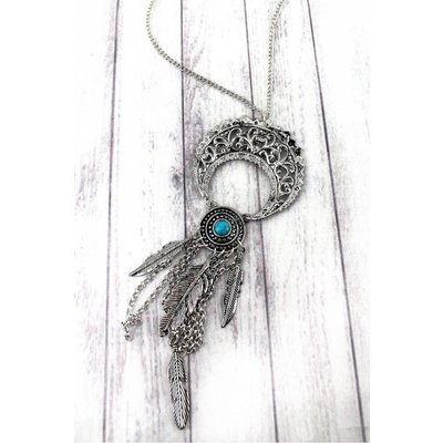 Feather Fringe Crescent Moon Necklace