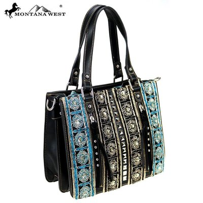 Montana West Embroidered Tote/Crossbody TQ Flower