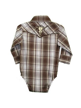 9637370d8ef Cowboy Hardware Infant Romper Fellow Plaid Western Shirt