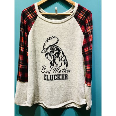 Beyond the Barn Bad Mother Clucker Plaid Sleeve Sweater