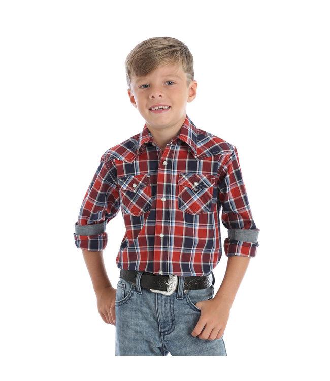 Wrangler Kid's Navy/Red Plaid Western Shirt