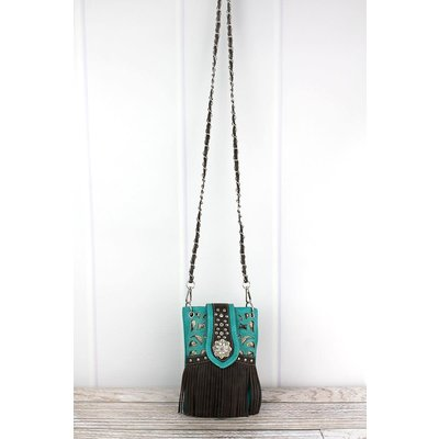 Fringed Turq/Brown Faux Leather Crossbody