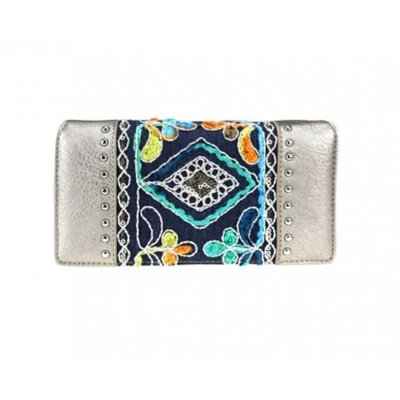 Embroidered Collection Secretary Style Wallet Silver