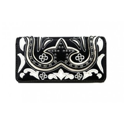 Embroidered Collection Wallet Black