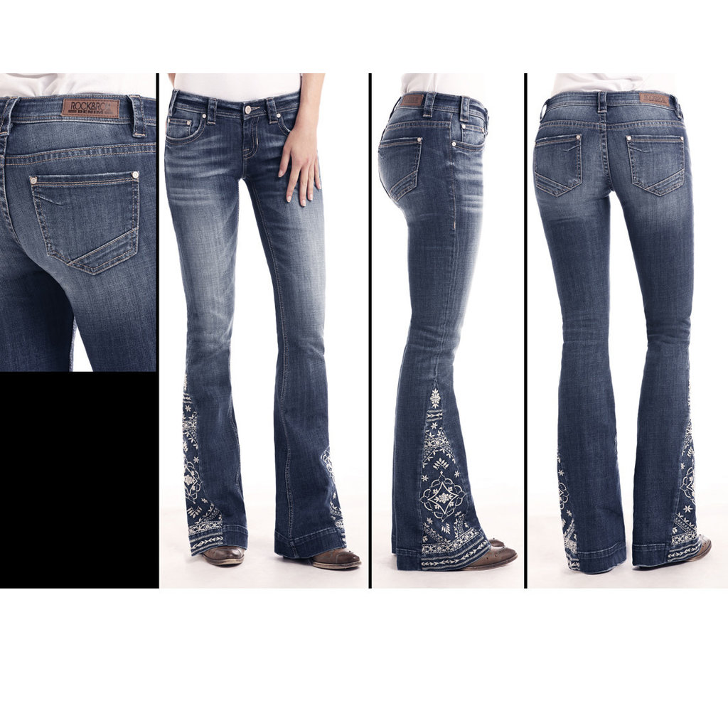 Panhandle Slim Rock & Roll Denim Embroidered Trouser W8-1021
