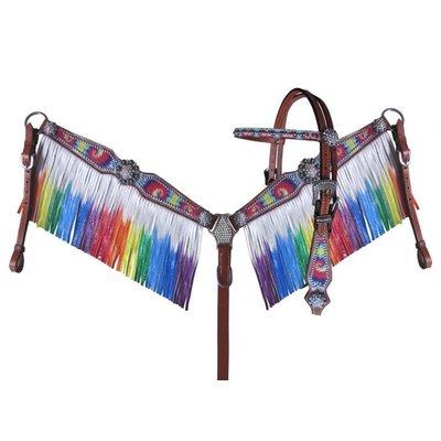 Tie Dye Rainbow Leather Fringe Tack Set