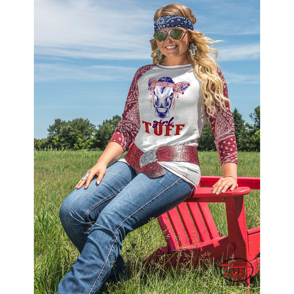 Cowgirl Tuff Cream and bandana baseball tee Cowgirl Tuff print