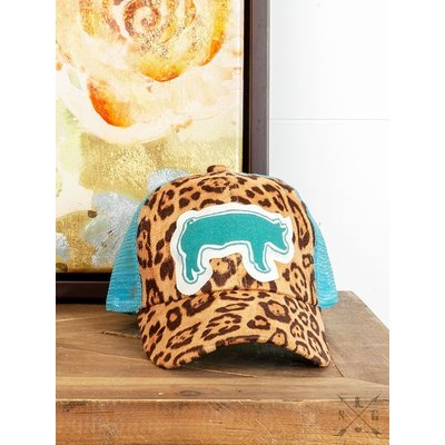 Girl's Sparkle Turquoise Pig Cap