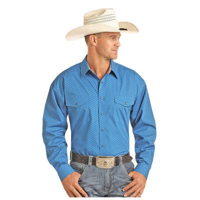 Panhandle Slim Men's Blue Arrow Pinstripe Long Sleeve Snap Shirt 36X1555