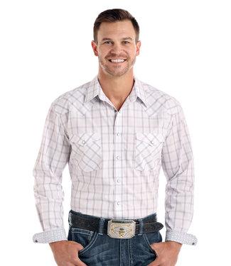 Panhandle Slim White Grey Plaid Long Sleeve Snap Shirt R0S1523