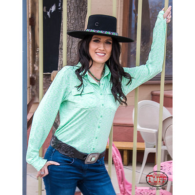 Cowgirl Tuff Cosmic Lime Sport Jersey Faux Button-Down