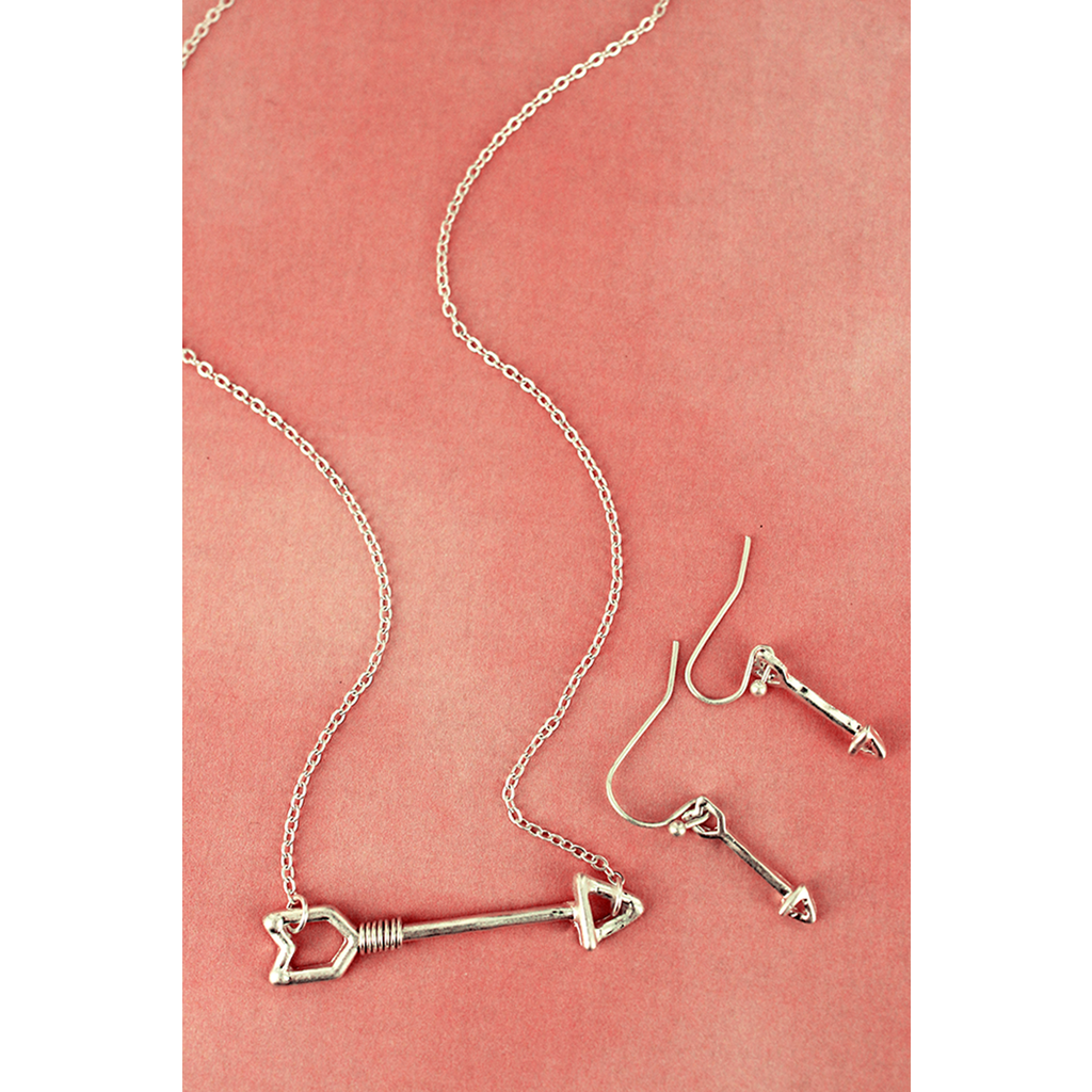 Wire Wrapped Arrow Necklace & Earring Set