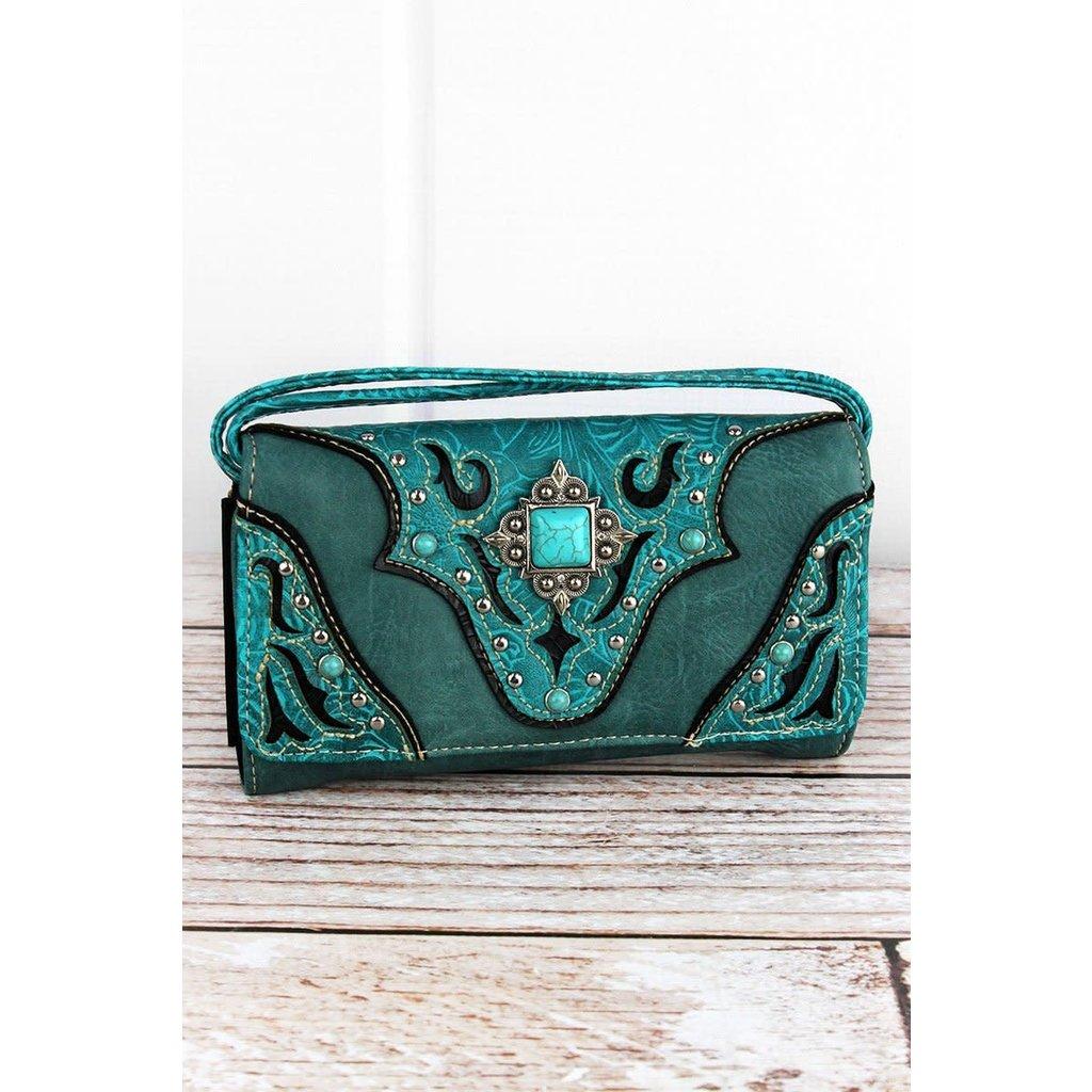 Western Diamond Concho Crossbody Wallet