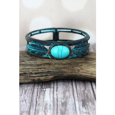 Western Turquoise Stone Feather Stretch Bracelet