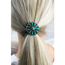 Tuquoise Stone Flower Hair Tie