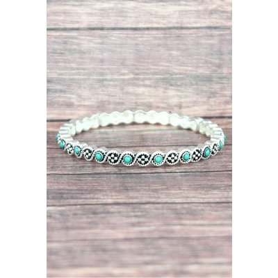 Silvertone Turquoise Twist Stretch Bracelet