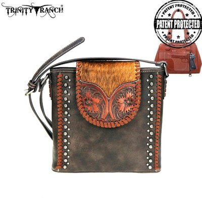 Trinity Ranch Tooled Hair-On Leather Crossbody