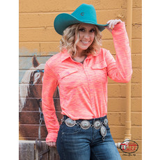 Cowgirl Tuff Cosmic Coral Sport Jersey Faux Button-Down