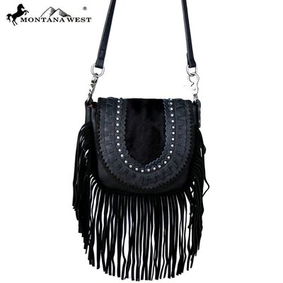 Montana West Hair On Cowhide Leather Fringe Crossbody