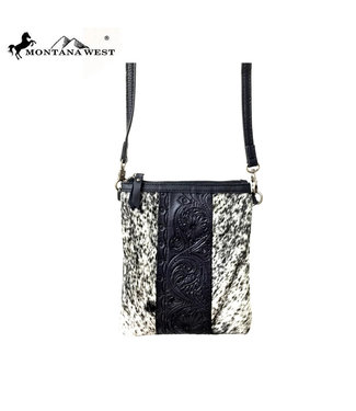 Montana West Real Leather Tooled Crossbody