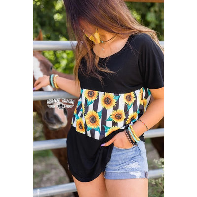 Crazy Train Clothing Jennay Gump Top Sunflowers