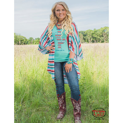 Cowgirl Tuff Flowy Lux Athletic Serape Cover-Up