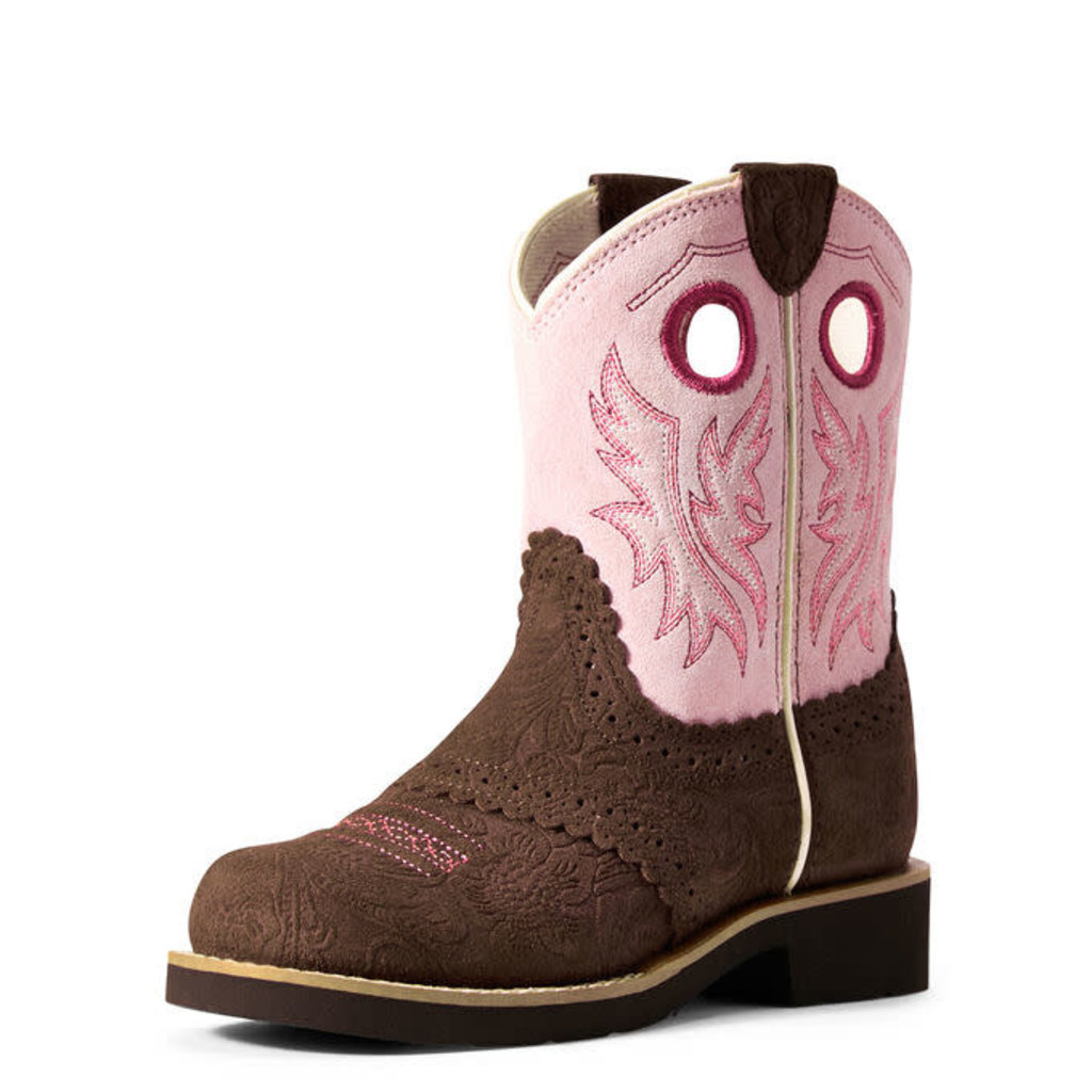 Ariat Youth Fatbaby Western Boot Tooled Brown/Dusty Pink