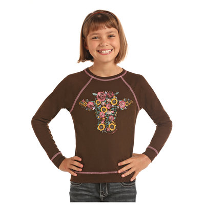 Panhandle Slim Kid's Floral Cow LS Tee G4T2258