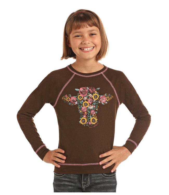 Panhandle Slim Kid's Floral Cow LS Tee G4T2258