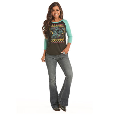 Panhandle Slim Ladies Aztec Raglan with Bronco 48T2881