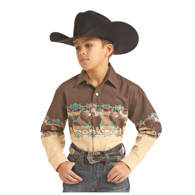 Panhandle Slim Kid's Western Graphic Border Shirt C0S2014