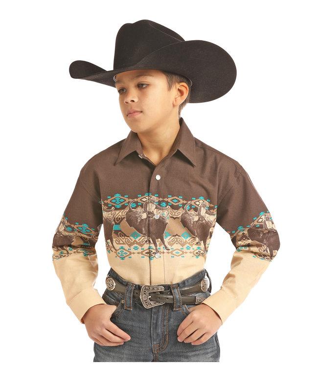 Panhandle Slim Kid's Western Graphic Border Shirt C0S2014