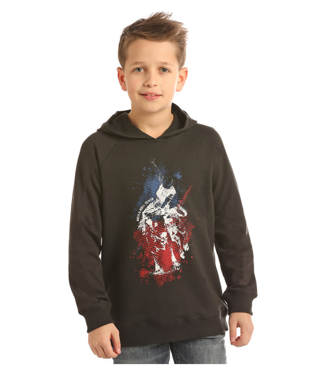 Panhandle Slim Kid's Rock & Roll Denim Bullrider Hoodie P4H2263