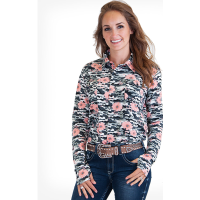 Grey Camo Floral Sport Jersey Pullover