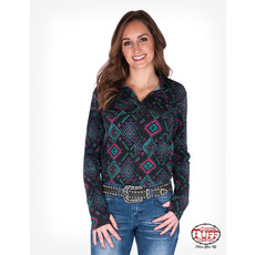 Cowgirl Tuff Black Aztec Jersey Pullover