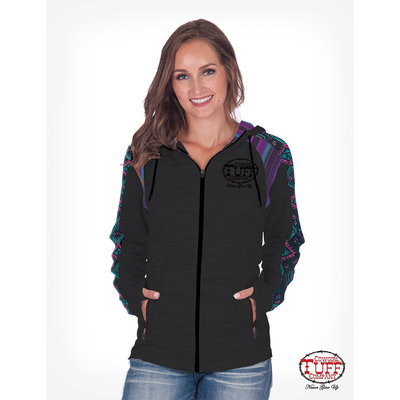 Cowgirl Tuff Black Hoodie w/ Aztec and Serape