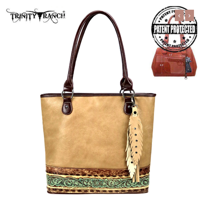 Montana West Trinity Ranch Conceal Carry Tote Tan