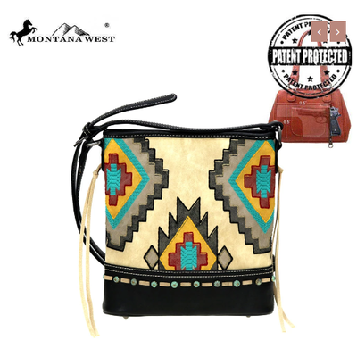 Montana West Montana West Aztec Conceal Carry Crossbody Bk
