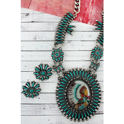 Indian Chief Portrait Necklace and Earring Set