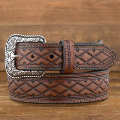 Hooey Geometric Tooled Belt