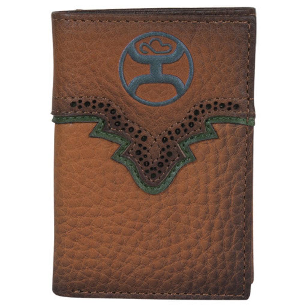 Hooey Trifold Wallet Russet & Green