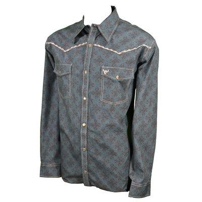 Cowboy Hardware Men's Long Sleeve Teal Print Shirt