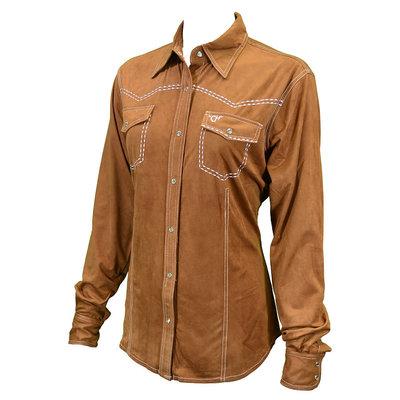 Cowboy Hardware Western Faux Suede Shirt Mocha