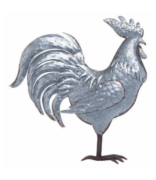 Metal Silver Spring Farmhouse Rooster Decor