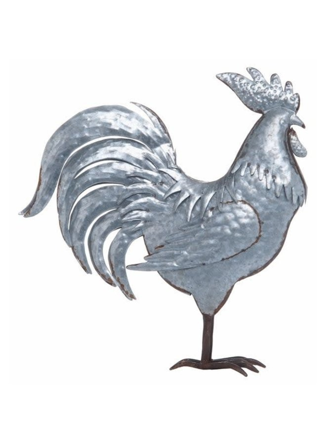 Metal Silver Spring Farmhouse Rooster