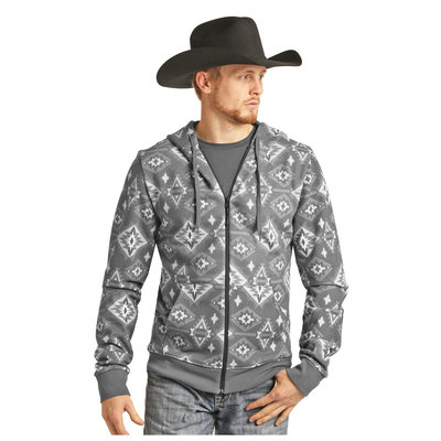Panhandle Slim Long Sleeve Grey Printed Hoodie