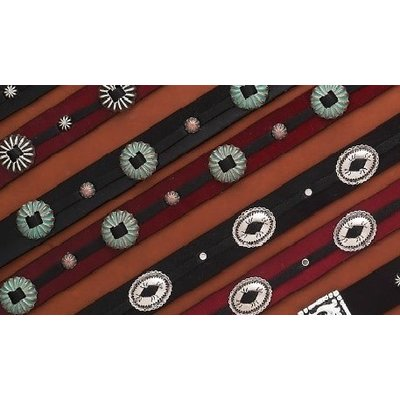 Leather Two Tone Hatband w/Conchos HB94
