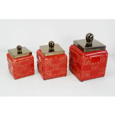 Set of 3 Canisters w/ Metal Lid