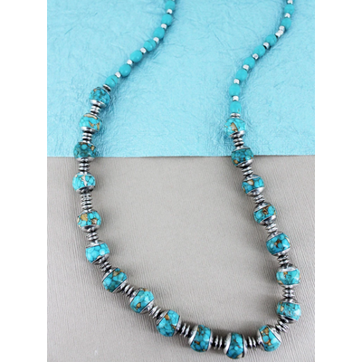 Speckled Turquoise Silverstone Beaded Necklace
